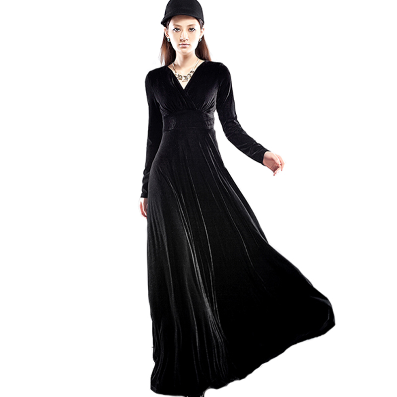 1648ec1da6167 Long Dress Plus Size S~3XL Women Winter Dresses Long Sleeve V Neck Maxi  Dress Velour Women Sexy Party Night Club Christmas Dress