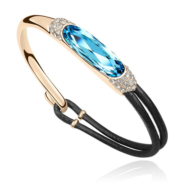 European Style Brand Bracelet Bangle Pulseras Crystal From Swarovski Gold Plated Bijoux Charm Jewelry For Women 2017