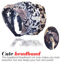 Bohemian Velvet Leopard Knot Hairband Ladies ethnic Geometric Pattern Knotted customized Hair Accessories