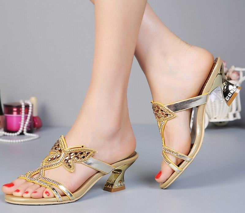 b614af051 hot 2018 new fashion women thick high heels sandals gold butterfly  rhinestone comfortable slippers summer ladies shoes-in Women's Sandals from  Shoes on ...