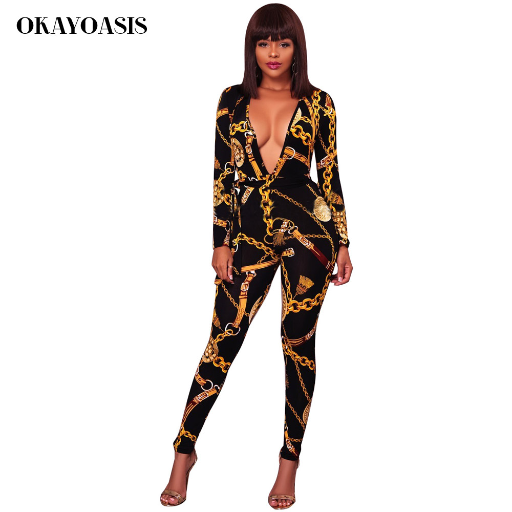 OKAYOASIS Women Gold Chain Printed Jumpsuits Hip Hop Style White Black  Rompers 2017 Lady Deep V Top and Pants Overalls Outfits-in Jumpsuits from  Women s ... ac8ad2af2312