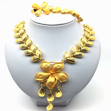 2019 Dubai High Quality 24 Gold Necklace Earrings Jewelry Sets Floral Styling Fashion Women Party Bridal Wedding
