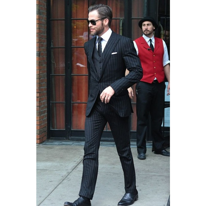 2017 Latest Coat Pant Designs Black Stripes Men Suit Slim Fit Tuxedos (Jacket+Pants+Vest) Groom Blazer Men Suits Terno Masculino
