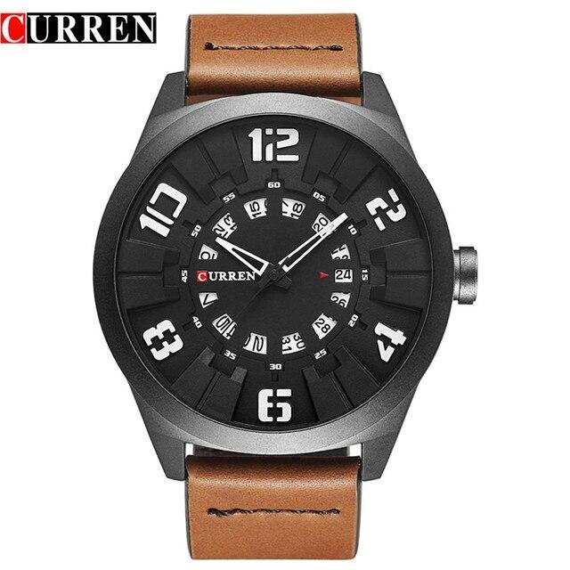 Curren топ luxury brand кварцевые часы Повседневная Мода Кожаный ремешок Спортивные часы masculino reloj Кварцевые мужчины черный круглый 8258
