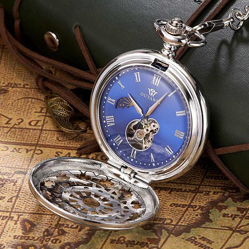 Remontage à la main mécanique Steampunk hommes montre de poche bleu squelette cadran collier pendentif mode chaîne Fob montres cadeaux de mariage