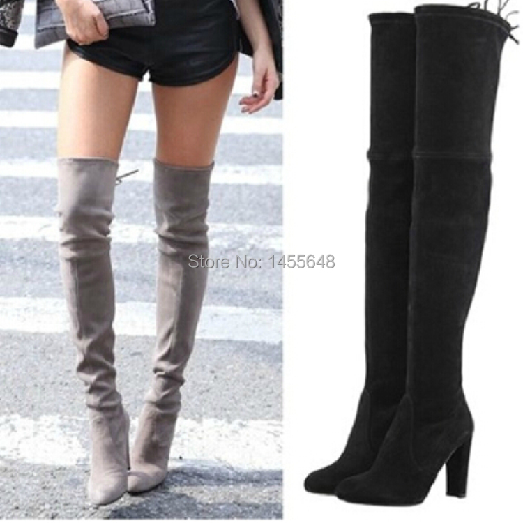 Black Stretch Over The Knee Boots - Yu Boots