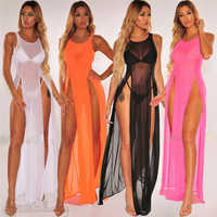 Frauen Mesh Sexy Sheer Bikini Cover up Elegante Transparente split Strand Kleid Badeanzug Bademode Playa tunika kaftan Beachwear