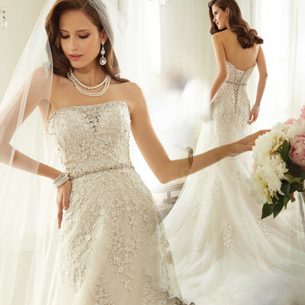 Sexy Romantic 2018 Casamento Vestido De Noiva Renda A-line Bridal Gown Appliques Crystal Beading Mother Of The Bride Dresses