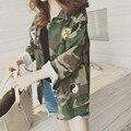 2016 Moda Camuflagem Militar Verde Do Exército do Revestimento Das Mulheres Denim Casacos Camo jaqueta feminina Casacos