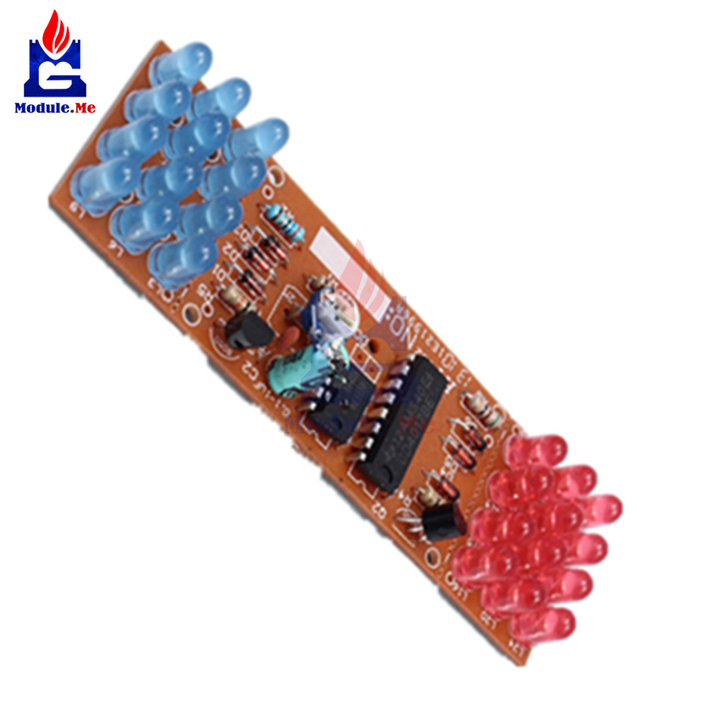 1Set NE555 + CD4017 Practice Learning Kits Red Blue Double Color Flashing Lights Kit Electronic Suite 9-12V DIY for Arduino 6