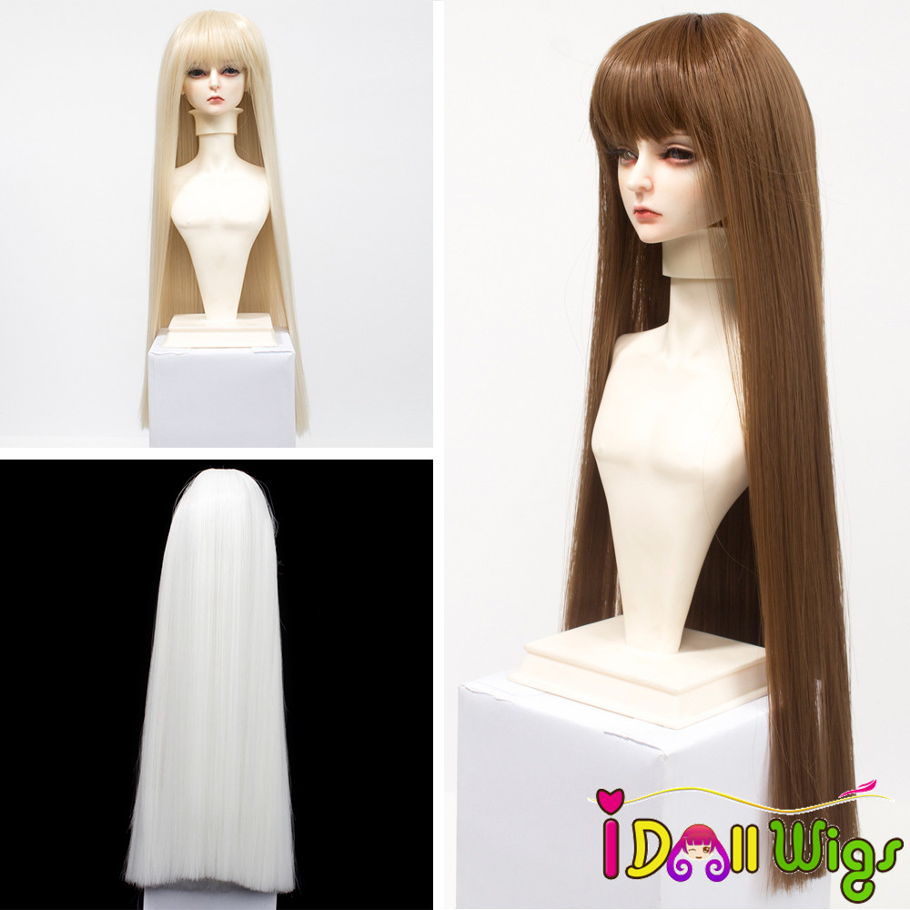 High Temperature Fiber Long Natural Color Straight Wig for 1/3 1/4 1/6 BJD Dolls Wig Only SD Doll Hair