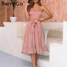 BerryGo women dresses ruffle elegant spaghetti strap dress Ruched sashes bow long dress summer dresses Sexy female vestido 2019