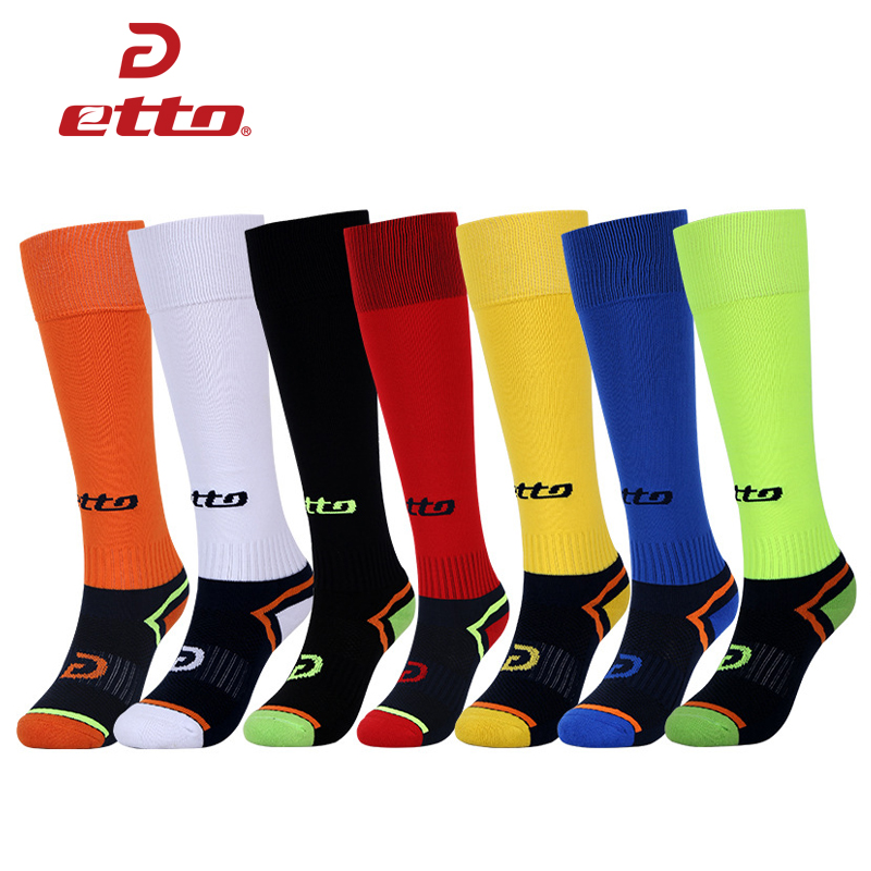 Etto Children Teenagers Knee High Elastic Anti-slip Cotton Soccer Socks Kids Boys Football Training Long Tube Sports Sox HEQ006