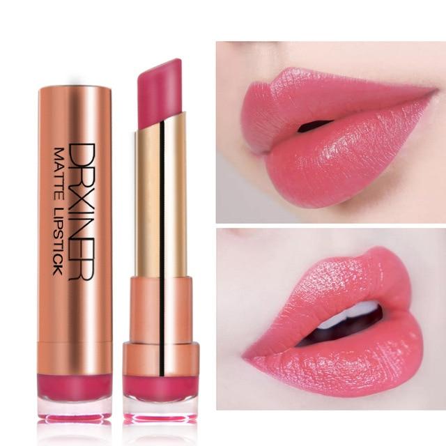 DRXINER mate pintalabios hidratante Batom labio Maquillage suave cremoso Sexy rojo oscuro púrpura desnudo líquido maquillaje labial