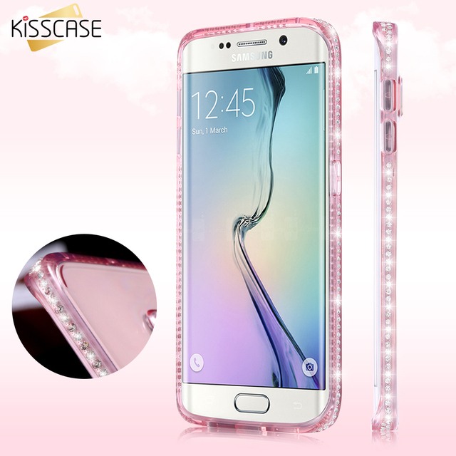 promo code 6fb23 87de9 US $1.99 20% OFF|KISSCASE Bling Diamond Case For Samsung Galaxy S7 Edge  Soft Silicon Rubber Girly Luxury Cover For Samsung S8 Plus Coque Fundas -in  ...