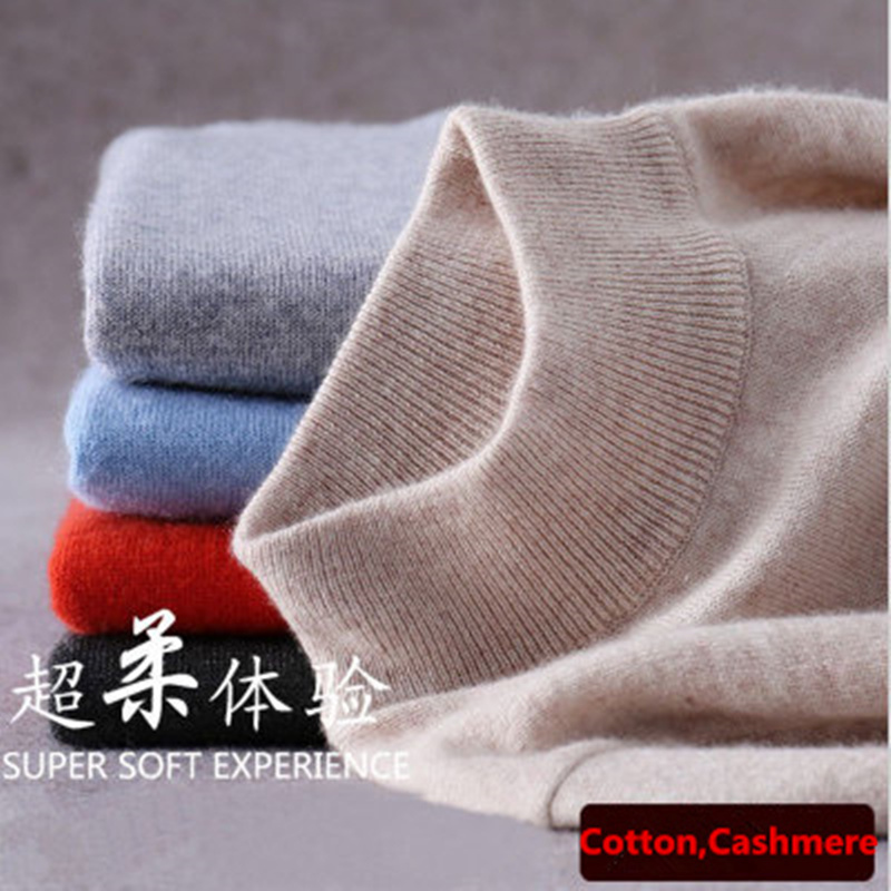 2018 Fashion Pure Color Cashmere Men's Sweater Semi high Collar Male Knitted Sweater Men Women Loose Pullover Turtleneck Sweater
