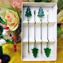 Bar restaurant tableware fruit fork wedding set creative glass Christmas tree sculpture decorative stainless steel dessert