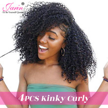 Mongolian Afro Kinky Curly Hair Weave 4 Bundles 100% Natural Human Hair Bundles Remy Extensions Jarin Curly Hair Products(China)