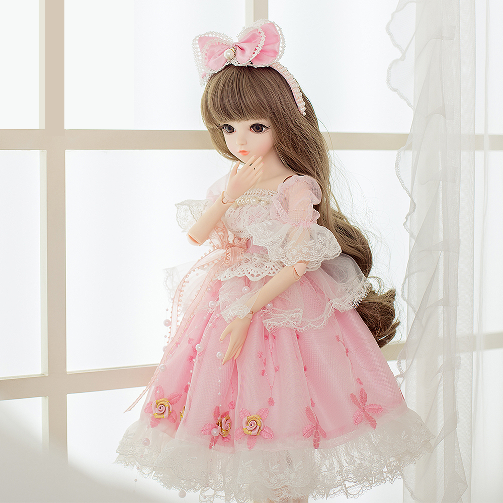 1 3 SD BJD Dolls 18 Joints With Shoes Wigs Makeup Pink Party Dress Girls  Toys Beautiful Doll Reborn Girl Best Gifts-in Dolls from Toys   Hobbies on  ... c8b5c52dc96b