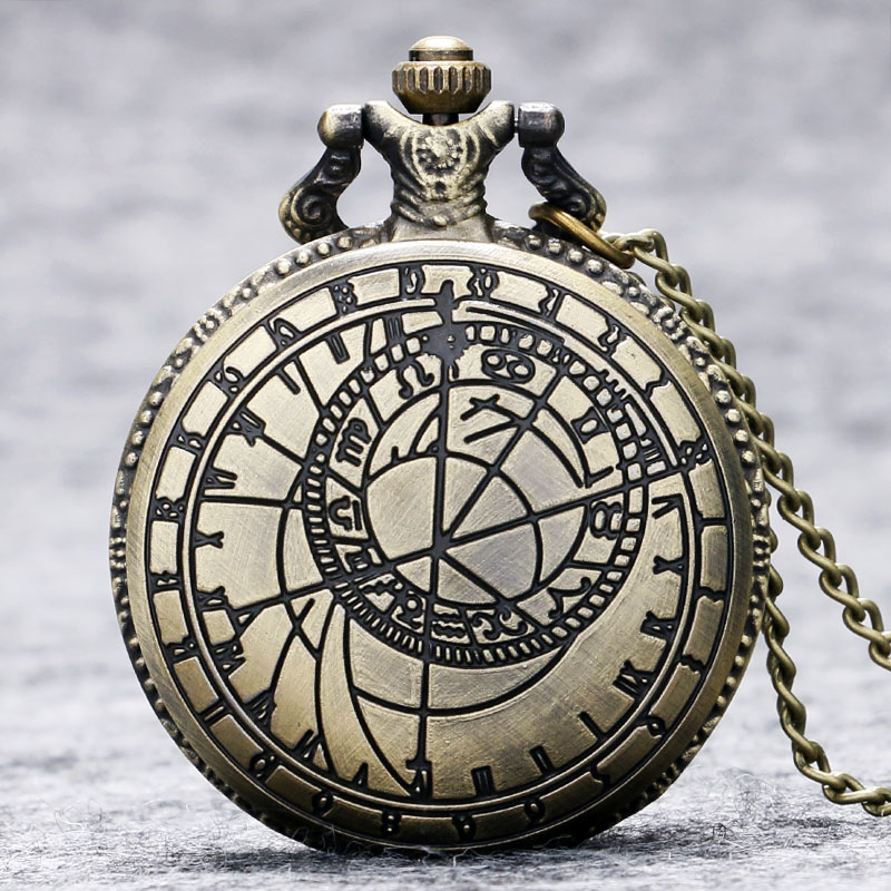 New Retro Vintage Bronze Steampunk Quartz Necklace Pendant Chain Clock Pocket Watch Men Women Gifts P208 vintage bronze fishing steampunk quartz pocket watch antique necklace pendant with chain clock men women gifts relogio de bolso