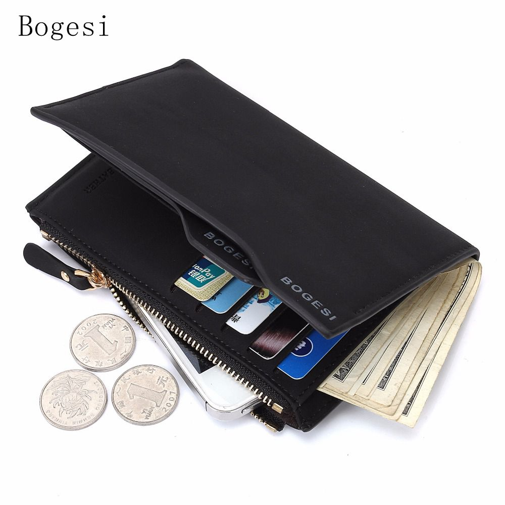 Bogesi 2017 Wallet Purses male money purses Soft Card Case Fashion Card Holder Man Walet Male Photo Holder Solid Letter Zipper