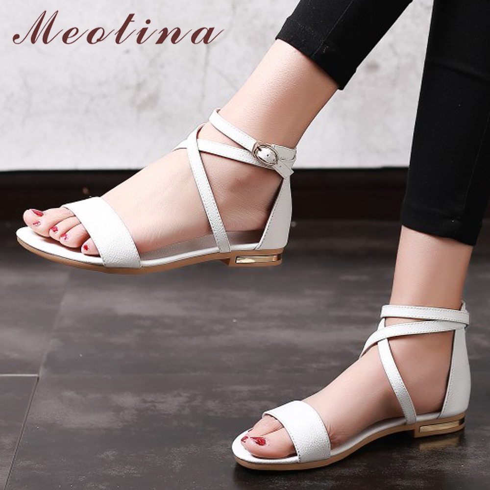 Meotina Genuine Leather Women Sandals Block Heel Flat Sandals Open Toe Buckle Summer Shoes Female 2018 Black White Size 33-46 11