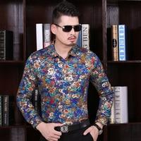 New autumn full sublimation printing men casual shirts long sleeve flowers printing dress shirt,fancy design men shirts