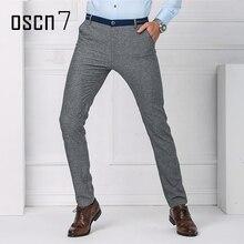 OSCN7 Slim Fit Классические Мужские Брюки Бизнес 2017 Мужские Брюки Формальный Плюс Размер Досуг Духи Мужской Pantalon Homme