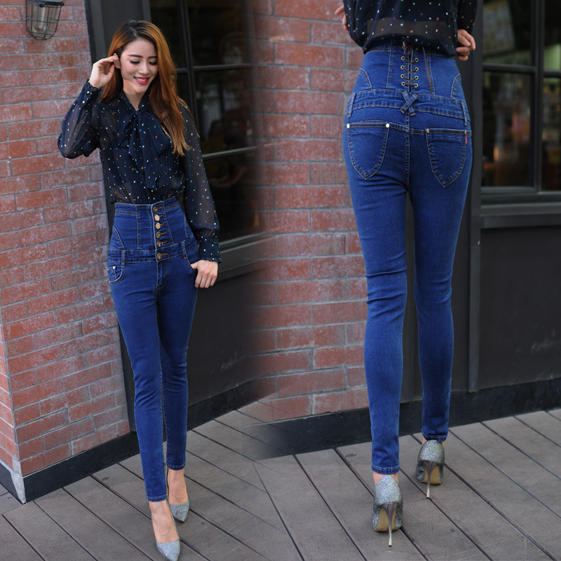 Дънки с висока талия жени Винтидж - Дамски дрехи - Снимка 5