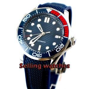 Luxo 41 milímetros dos homens relógio mostrador azul marinho super luminosa vidro safira Painel de Cerâmica Azul movimento Automático do relógio de pulso homens