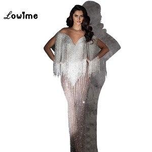 Image 2 - יוקרה חרוזים שמלת ערב 2018 לבנון Musilm בת ים נצנצים ערבית דובאי נשים פורמליות שמלות ערב המפלגה שמלת Vestidos