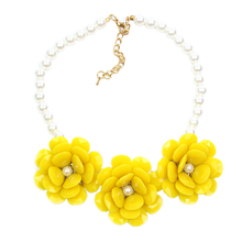 Fashion Simulated Pearl Jewelry Choker Necklace Big Flower Necklaces & Pendants Chunky Brand Collares Statement Necklace Exo