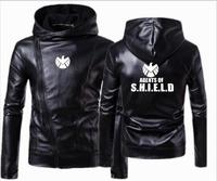 New men's clothing US captain agents of s.h.i.e.l.d leather hooded jacket punk South Side hooded leather motorcycle jacket