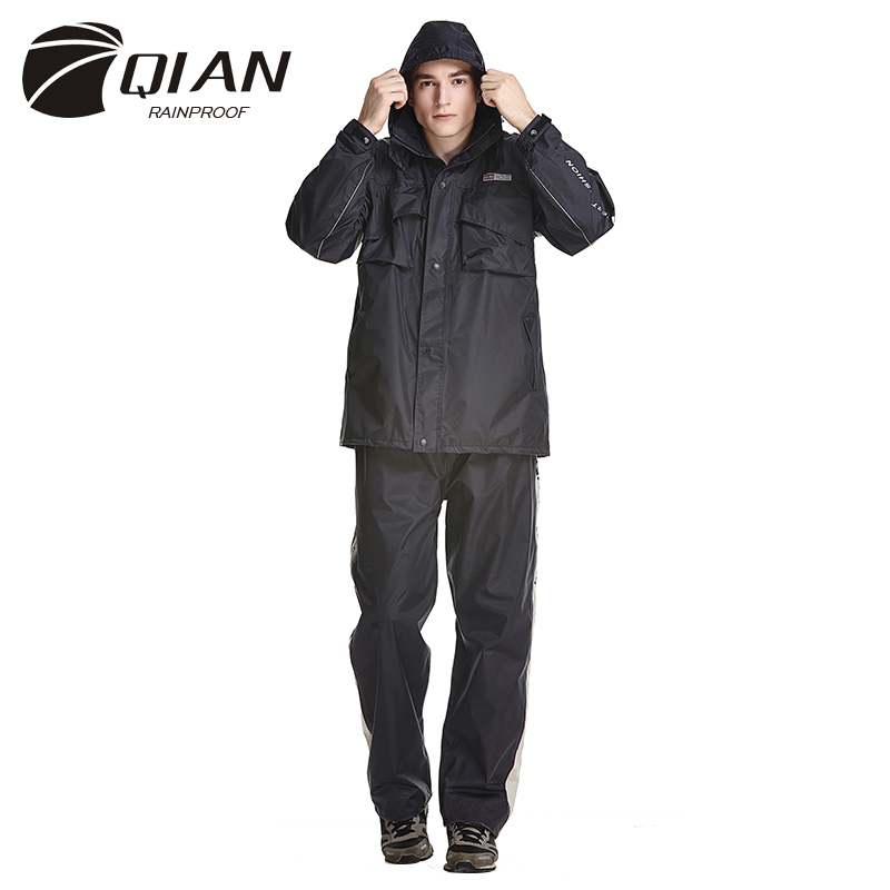 Qian rainproof impermeable raincoat women men suit rain for Fishing rain gear reviews