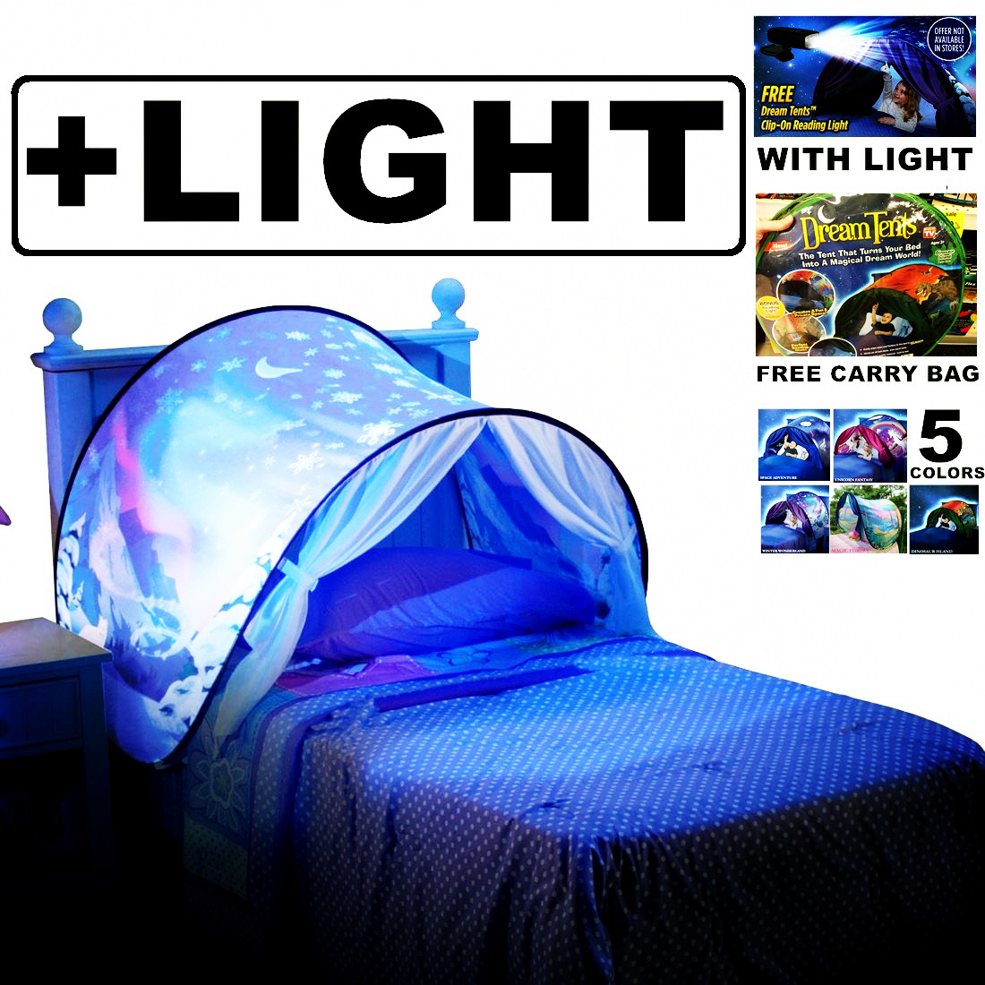 Dream Tents With Light Twin Size Children Kid Winter Wonderland Magic Forest Space Adventure Dinosaur Island Unicorn Fantasy цена и фото