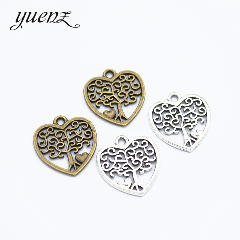YuenZ 20 pcs Bronze, Antique silver Heart Life tree Charms Metal Pendant Diy Charms Jewelry Making 18*17mm A67