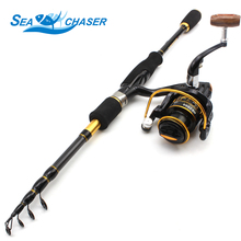 NEW 1.8M 2.1M 2.4M 2.7M Carbon Spinning rod Telescopic Fishing Rod and 12BB Reel Combo Fishing lure Tackle Set Free shipping