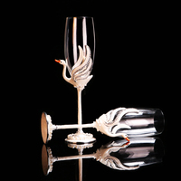 Modern red wine glass enamel wedding gift Swan diamond goblet couple creative gift Champagne Cup B