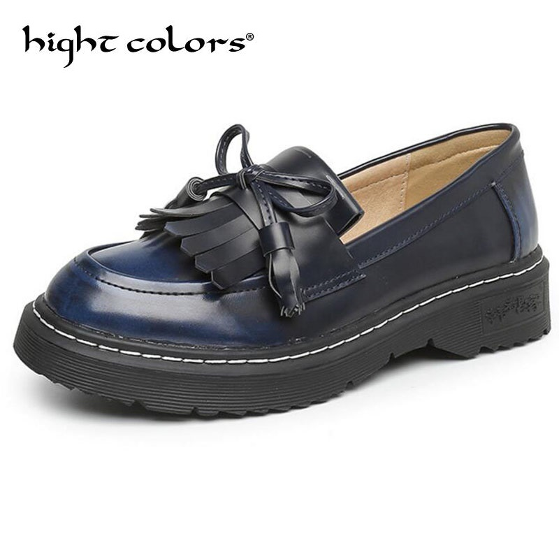 Big Size 43 Tassel Bow Loafers 2019 New Women Oxfords Patent Leather Platform Flats Spring Round Toe Slip on Casual Shoes Woman