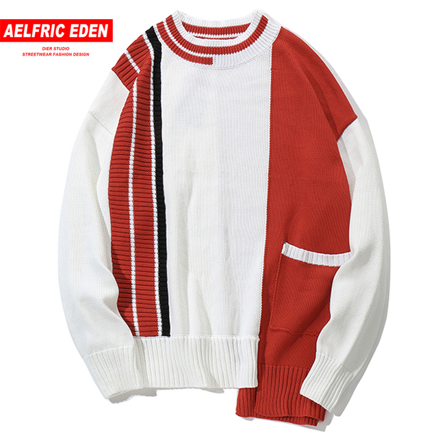 a780a00274 Aelfric Eden Color Block Pockets Pullover Sweaters Men 2018 Winter Harajuku  Hip Hop Fashion Casual Knitted Male Streetwear KJ104