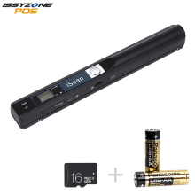 цена ISSYZONEPOS Portable Handheld Document Scanner Image Scanner for Document File Image for PC Mac Free 16G Micro Card With Battery