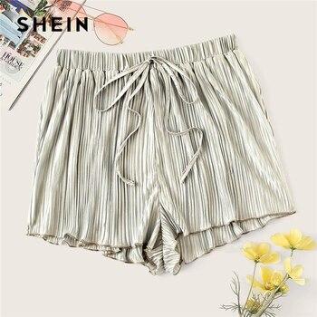 8a593a430a4f SHEIN Boho plata cordón cintura plisada pantalones cortos sueltos mujeres  verano 2019 cintura media ...