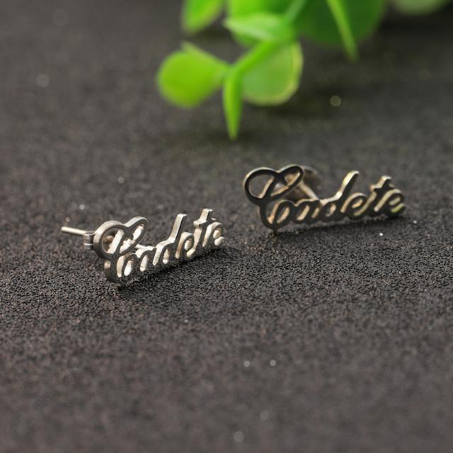 925 Sólida pulseira de Prata Nome Personalizado Pingentes Brinco Do Parafuso Prisioneiro Brincos de Aniversário Presente de Natal Atacado