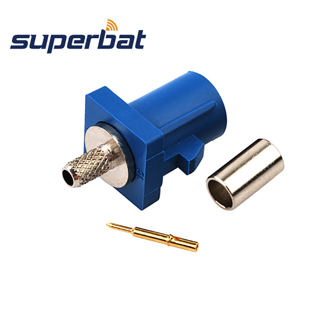 Superbat 10pcs RF Fakra Connector Crimp Plug Male For Blue GPS Telematics Or Navigation For Cable RG316 RG174 LMR100