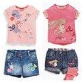 Retail 2016 New kids clothes girls clothes kids clothes children Summer girls Cartoon denim shorts suits of high quality