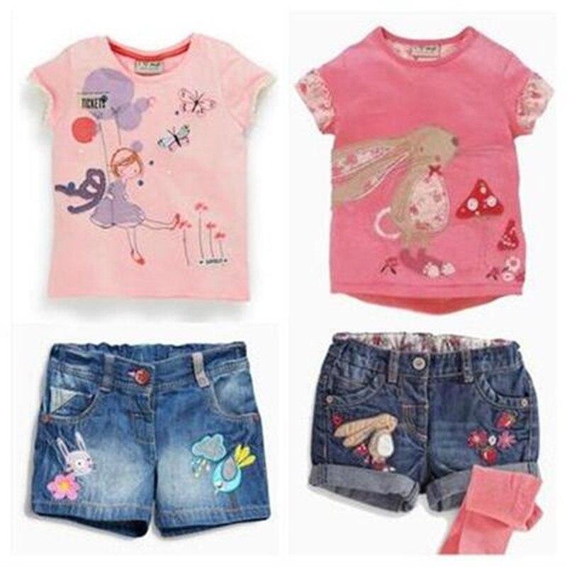 Retail 2017 New kids clothes girls clothes kids clothes children Summer girls Cartoon denim shorts suits