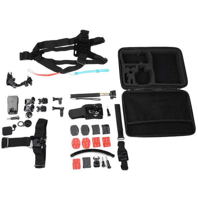 52 em 1 câmera de ação da família kit para gopro hero 4 3 3 + 2 1 Sport Camera Acessório Kits Set Incluído Flutuante Monopé Tripé