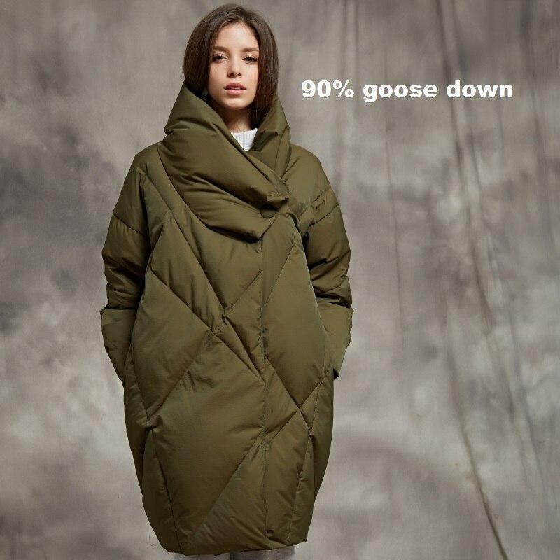 Abrigos de piel de ganso de lujo de invierno cálido 90% real ganso abajo abrigo femenino de cuello alto negro verde más grueso caliente abajo abrigos wq125
