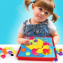 Обучающие Детские 3D мозаика гриб гвоздя Книги по искусству и пуговицы Книги по искусству Пазлы игрушки дошкольных образовательных игрушки фоторобот головоломки Kid Игрушка