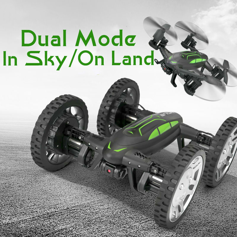 Air Or Road RC Camera Drone Car 2 in 1 Flying Car 2.4G RC Quadcopter Drone 6-Axis 4CH Helicopter With HD Camera High Speed 4WD image